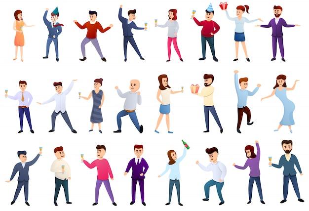 Set di icone di festa in ufficio Vettore Premium