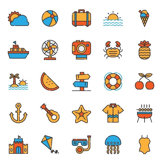 Set di icone di festa vacanze estive Vettore Premium