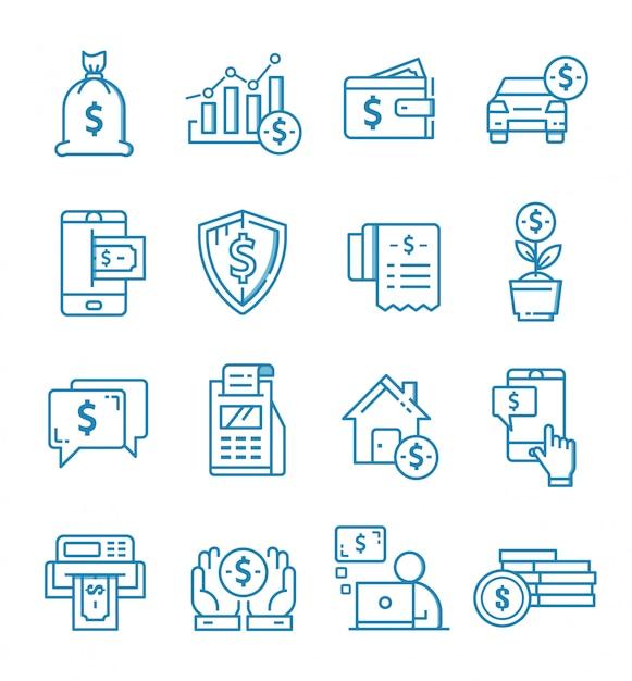 Set di icone di finanza con stile di contorno Vettore Premium