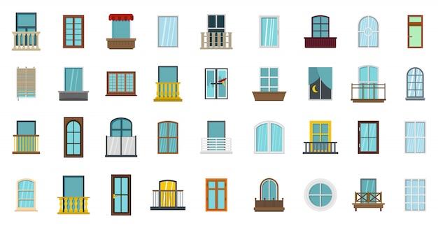 Set di icone di finestra. insieme piano della raccolta delle icone di vettore della finestra isolato Vettore Premium