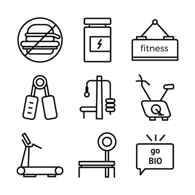 Set di icone di fitness e sport. simboli di stile di vita sano. Vettore Premium