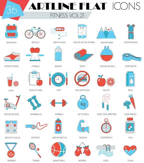 Set di icone di fitness sport e salute linea piatta Vettore Premium