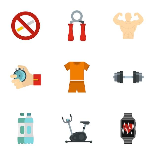 Set di icone di fitness, stile piano Vettore Premium