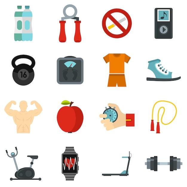 Set di icone di fitness Vettore Premium