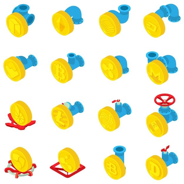 Set di icone di flusso di monete, stile isometrico Vettore Premium