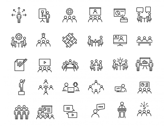 Set di icone di formazione aziendale lineare. icone di officina dal design semplice Vettore Premium