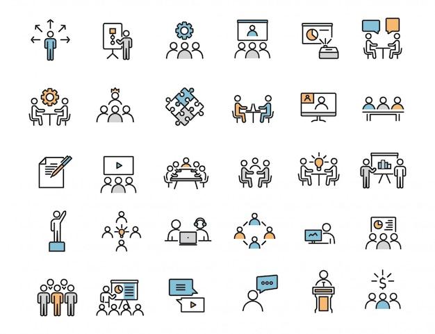 Set di icone di formazione aziendale lineare icone di officina Vettore Premium