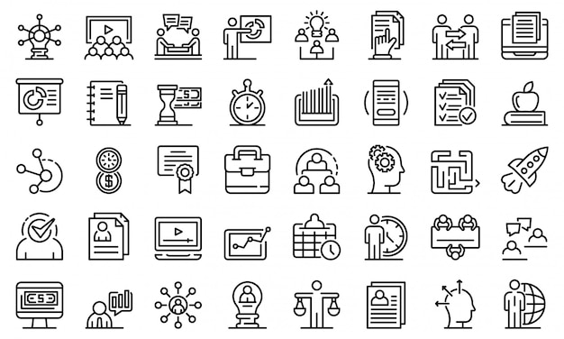 Set di icone di formazione aziendale Vettore Premium