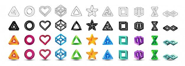 Set di icone di forme impossibili Vettore Premium