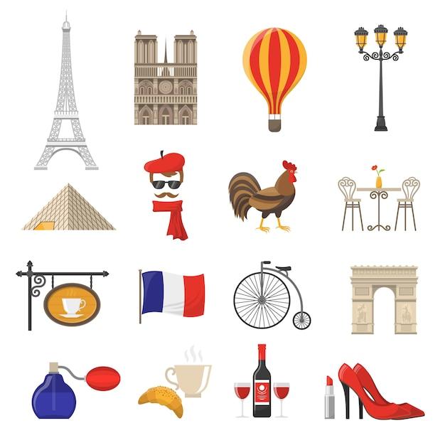 Set di icone di francia Vettore gratuito