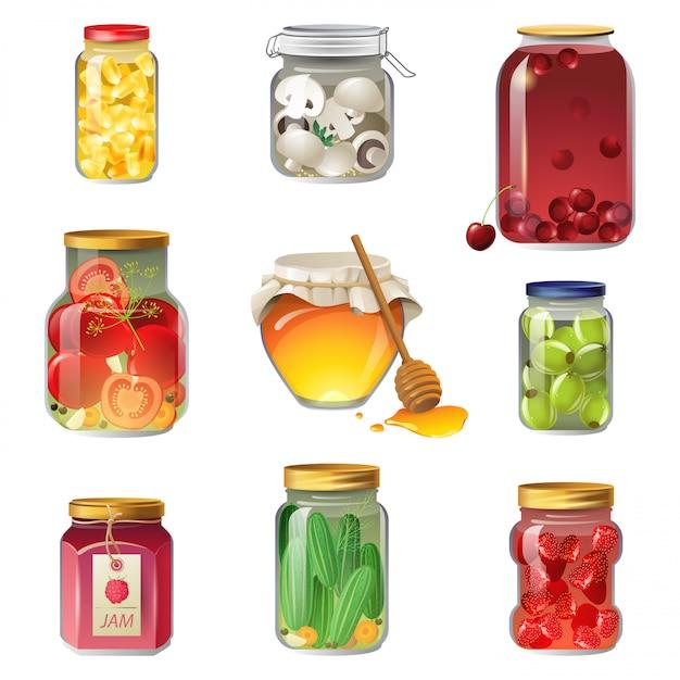 Set di icone di frutta e verdura in scatola Vettore Premium