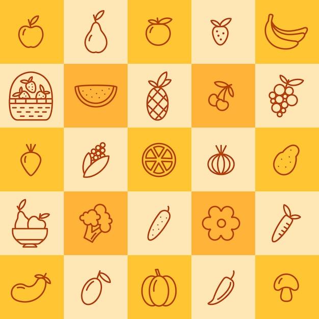 Set di icone di frutta e verdura Vettore Premium