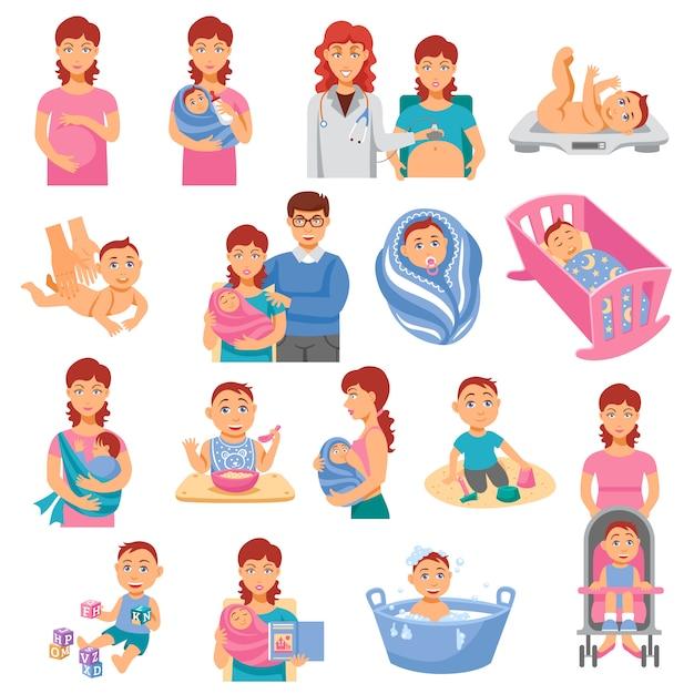 Set di icone di genitori Vettore gratuito