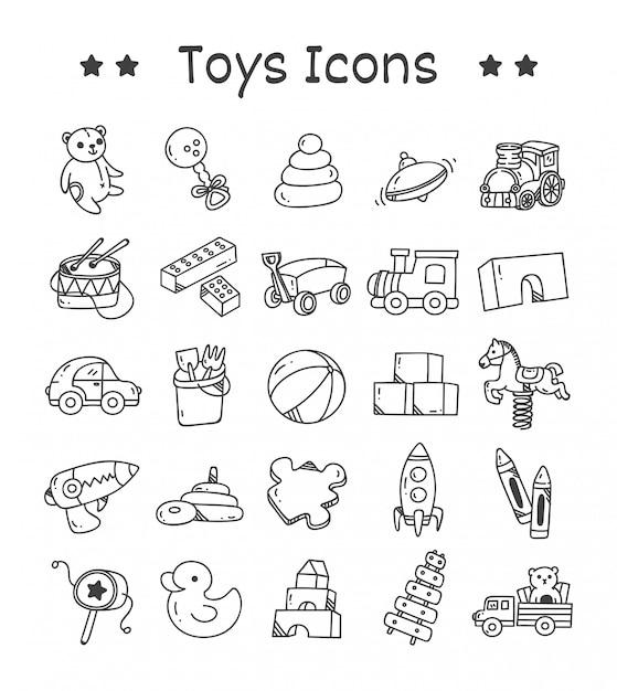 Set di icone di giocattoli in stile doodle Vettore Premium