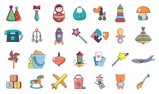 Set di icone di giocattoli. l'insieme del fumetto delle icone di vettore dei giocattoli ha messo isolato Vettore Premium