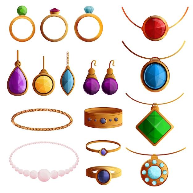 Set di icone di gioielli. insieme del fumetto delle icone di vettore dei gioielli per web design Vettore Premium