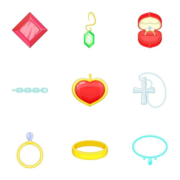 Set di icone di gioielli, stile cartoon Vettore Premium