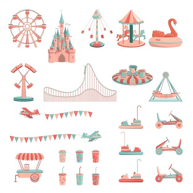 Set di icone di giostre parco divertimenti. Vettore Premium