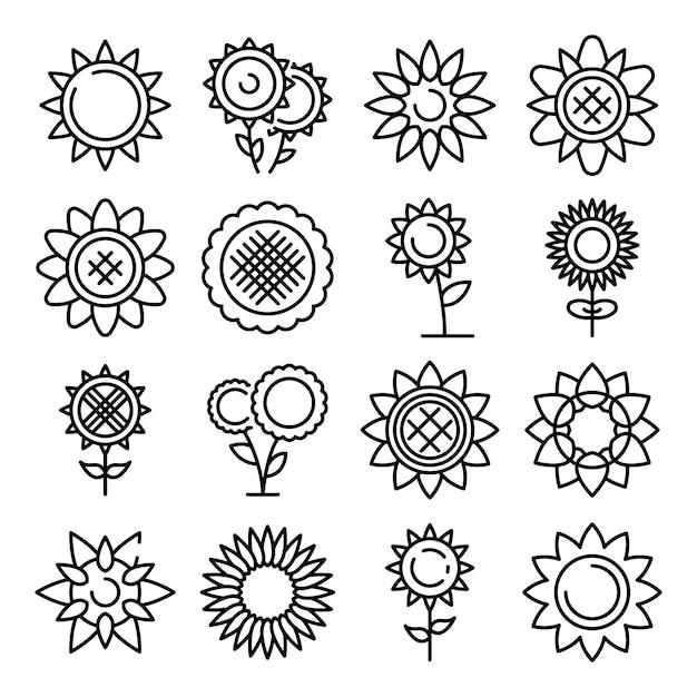 Set di icone di girasole, struttura di stile Vettore Premium