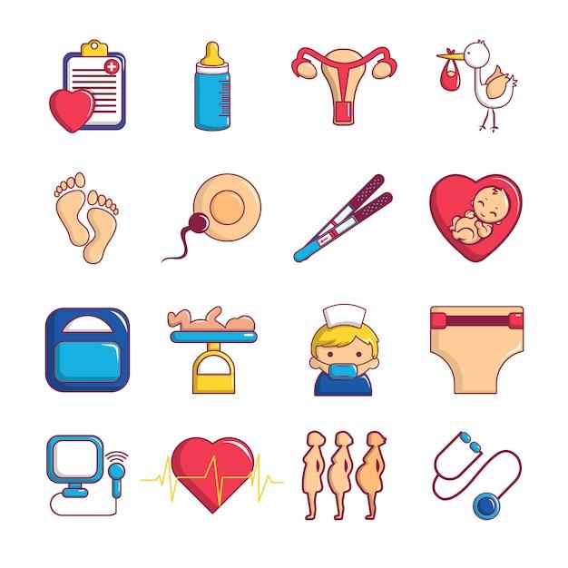 Set di icone di gravidanza Vettore Premium