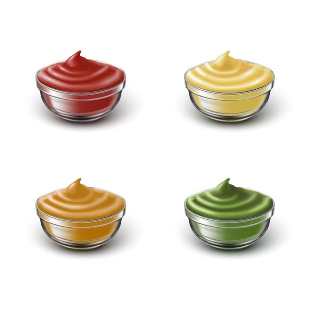 Set di icone di grida trasparenti con diversi sauses Vettore Premium