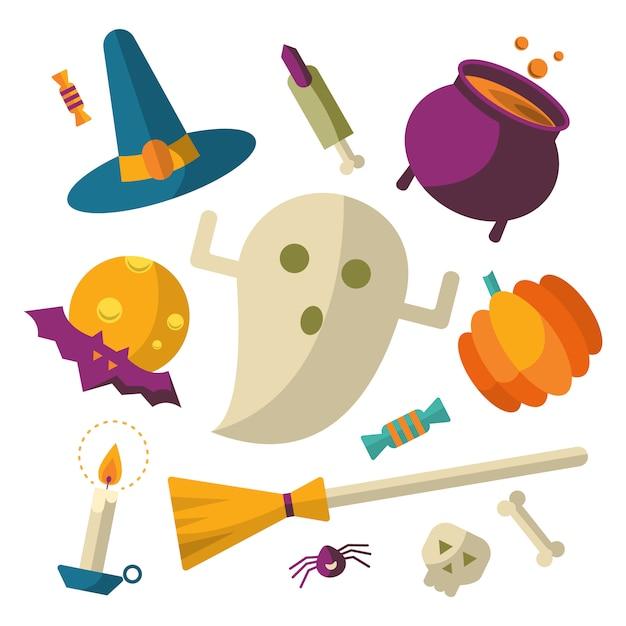 Set di icone di halloween felice Vettore gratuito
