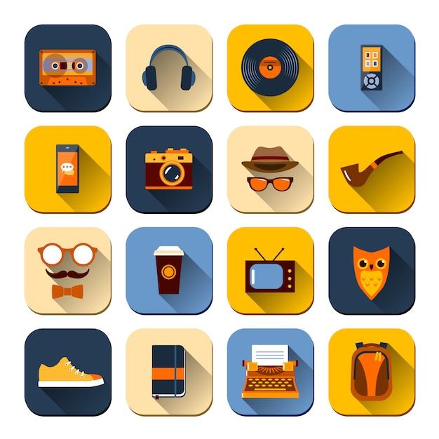 Set di icone di hipster Vettore gratuito