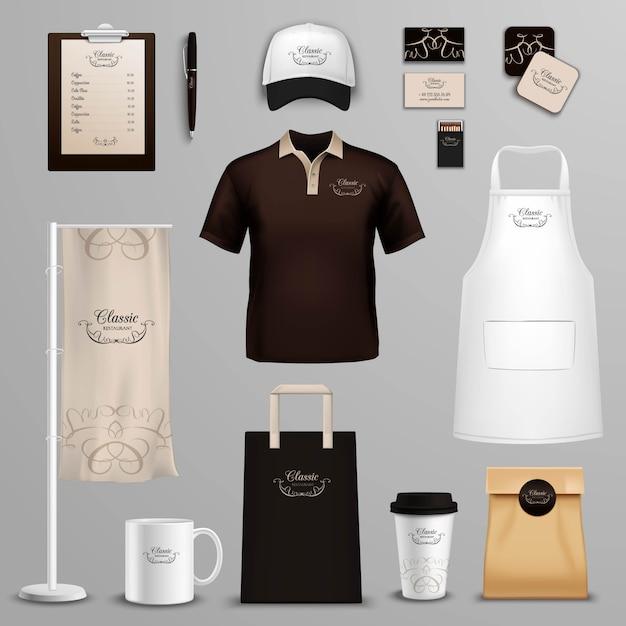 Set di icone di identità aziendale ristorante café Vettore gratuito