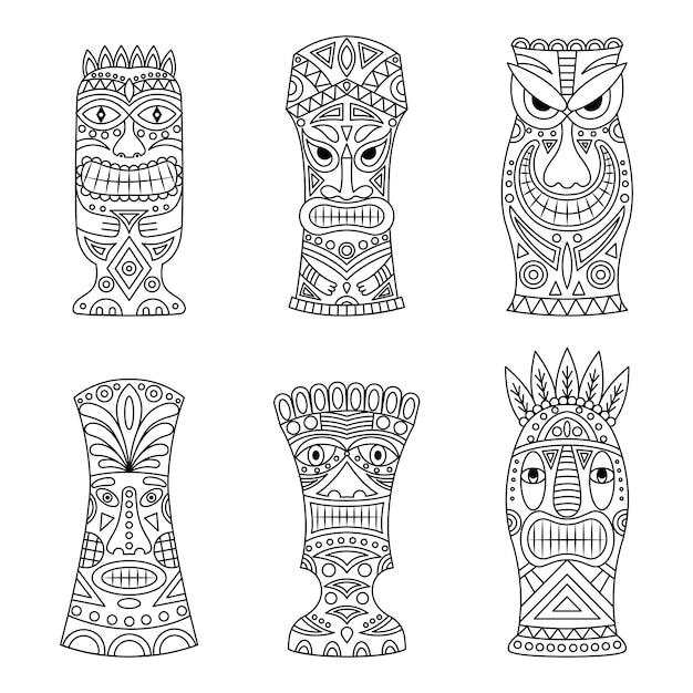 Set di icone di idoli tiki. Vettore Premium