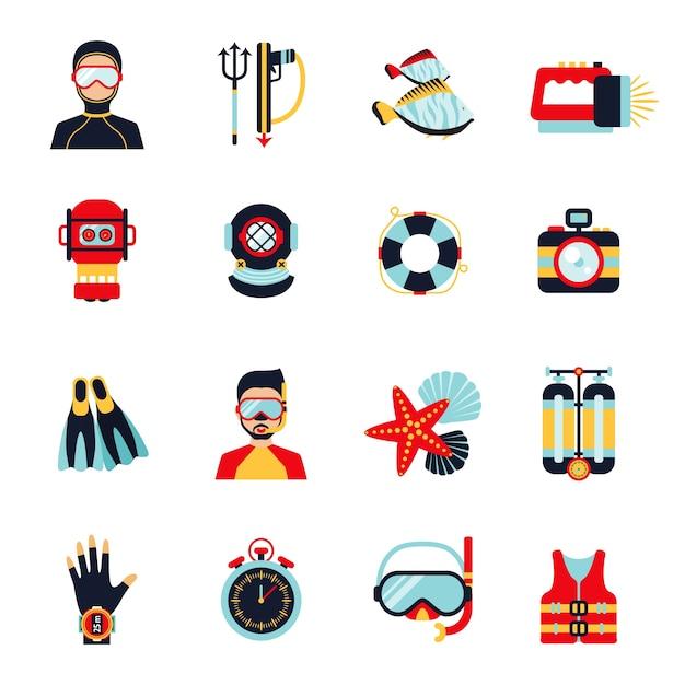 Set di icone di immersioni Vettore gratuito