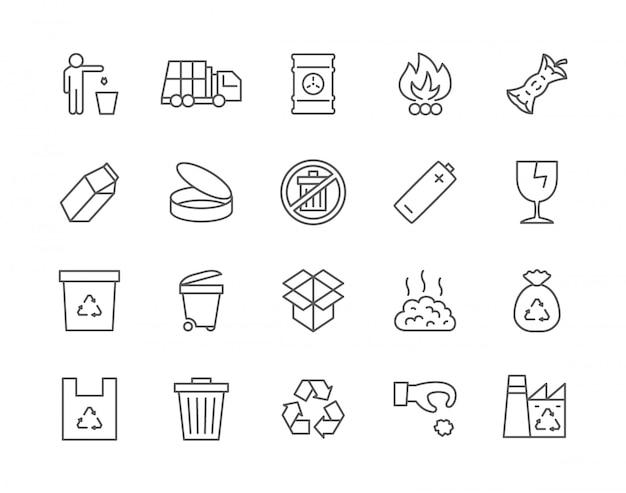 Set di icone di immondizia Vettore Premium