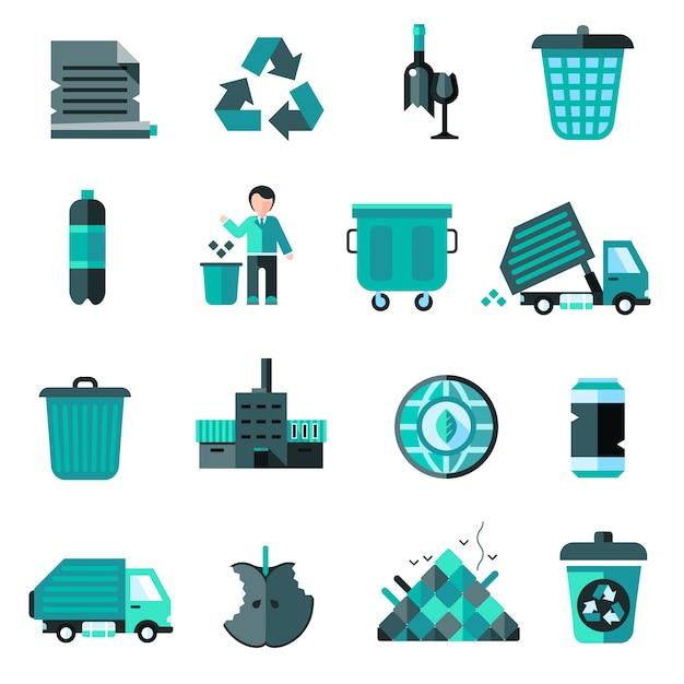 Set di icone di immondizia Vettore gratuito