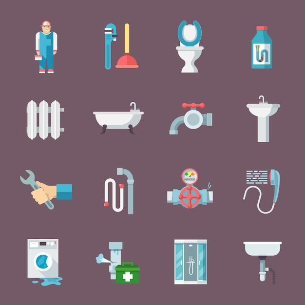 Set di icone di impianti idraulici Vettore gratuito