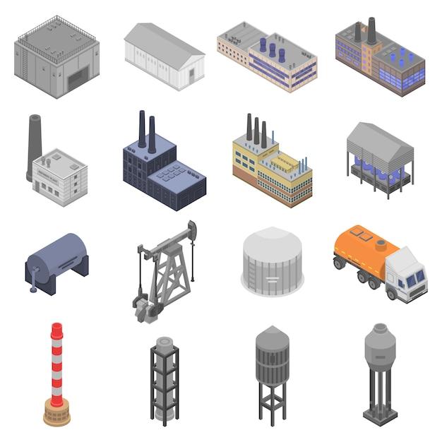 Set di icone di impianto di raffineria, stile isometrico Vettore Premium