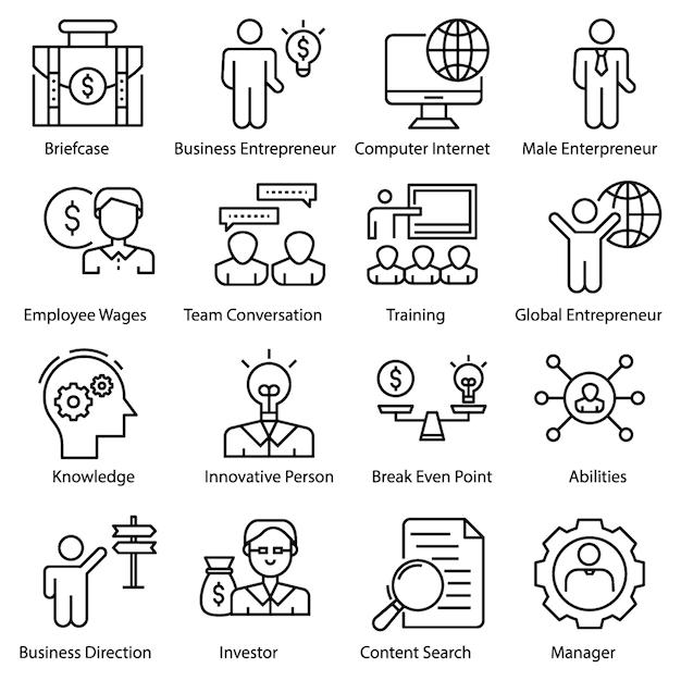 Set di icone di imprenditore Vettore Premium