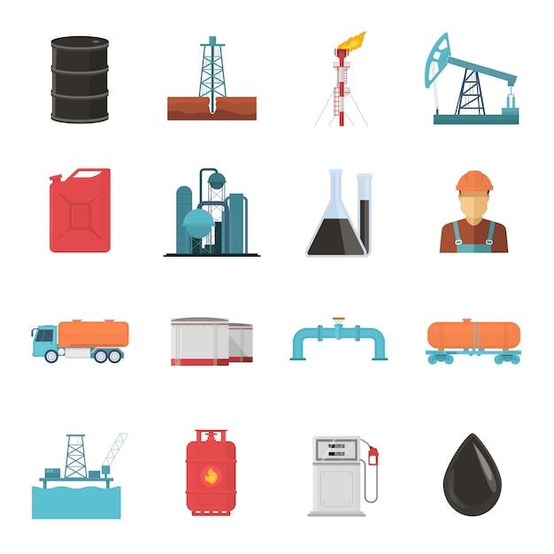 Set di icone di industria petrolifera Vettore gratuito