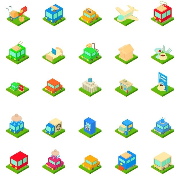 Set di icone di infrastruttura urbana Vettore Premium