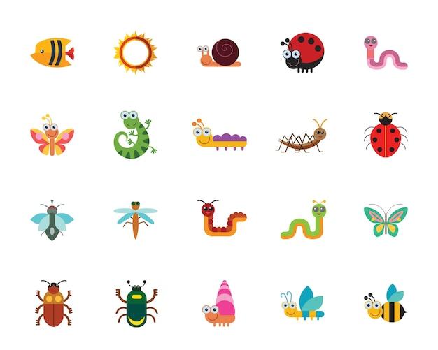 Set di icone di insetti divertenti Vettore gratuito