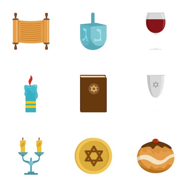 Set di icone di israele, stile piano Vettore Premium