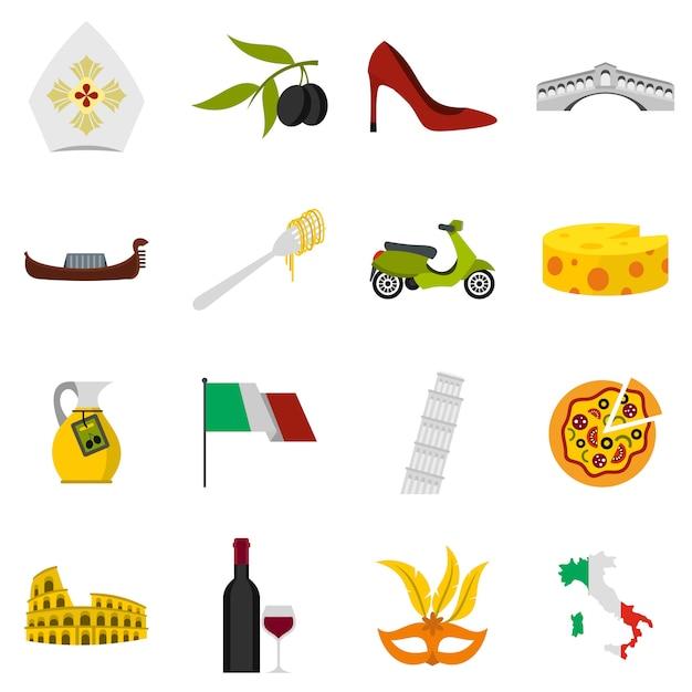 Set di icone di italia Vettore Premium