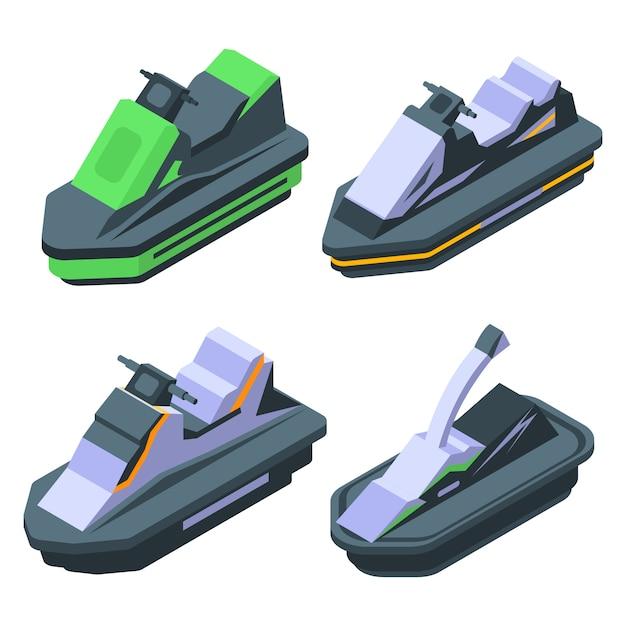 Set di icone di jet ski, stile isometrico Vettore Premium