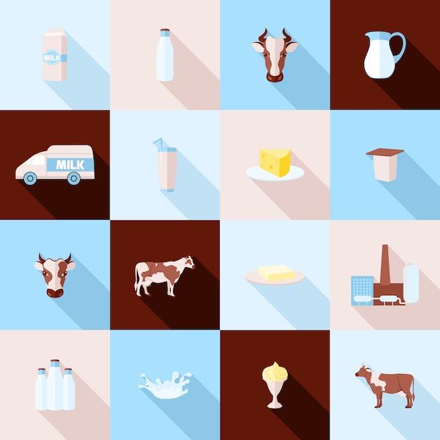 Set di icone di latte Vettore gratuito