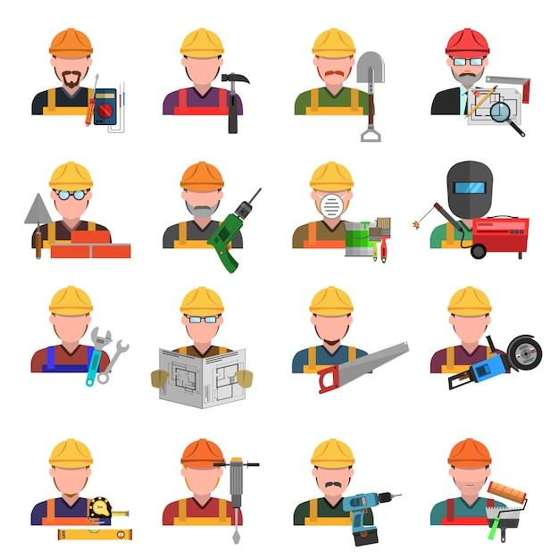Set di icone di lavoratore Vettore Premium