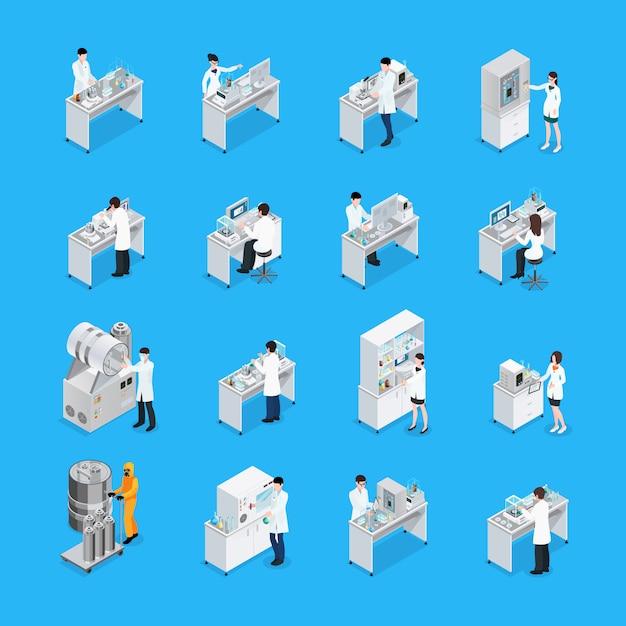 Set di icone di lavori di laboratorio Vettore gratuito