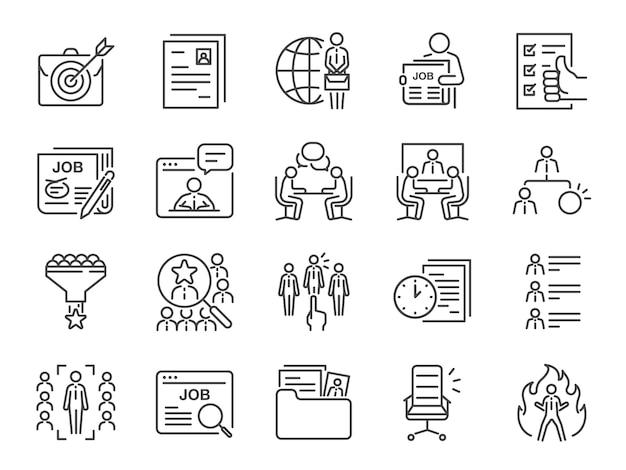 Set di icone di lavori riga. Vettore Premium