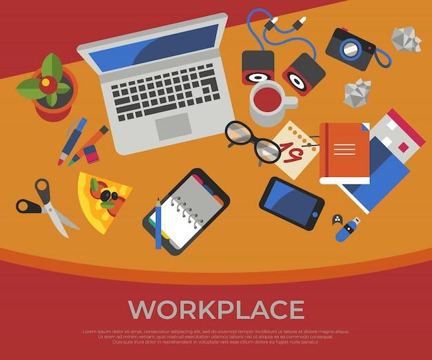 Set di icone di lavoro creativo freelance Vettore Premium