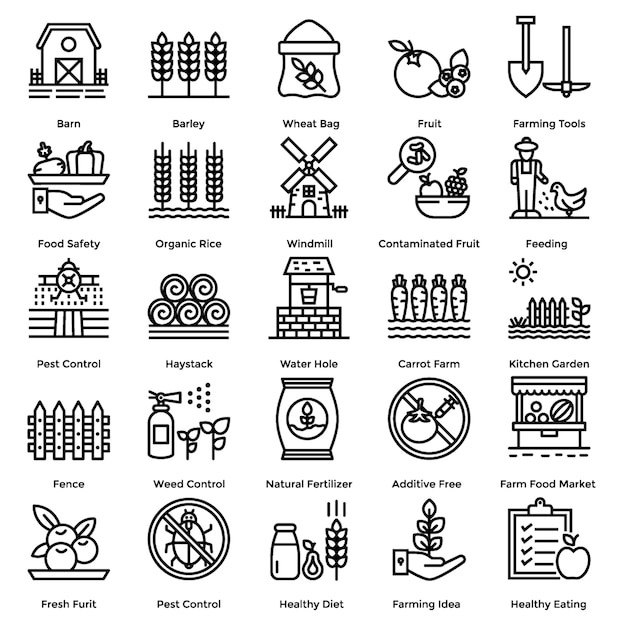 Set di icone di linea agricola Vettore Premium