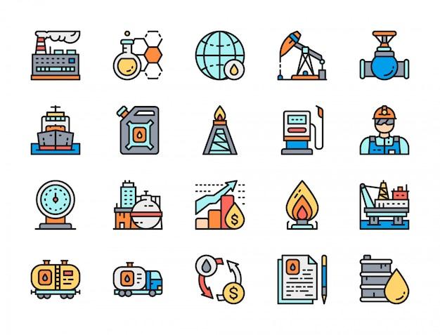 Set di icone di linea colore piatto industria petrolifera. autocisterna per carburante, vagone petrolifero e altro ancora. Vettore Premium