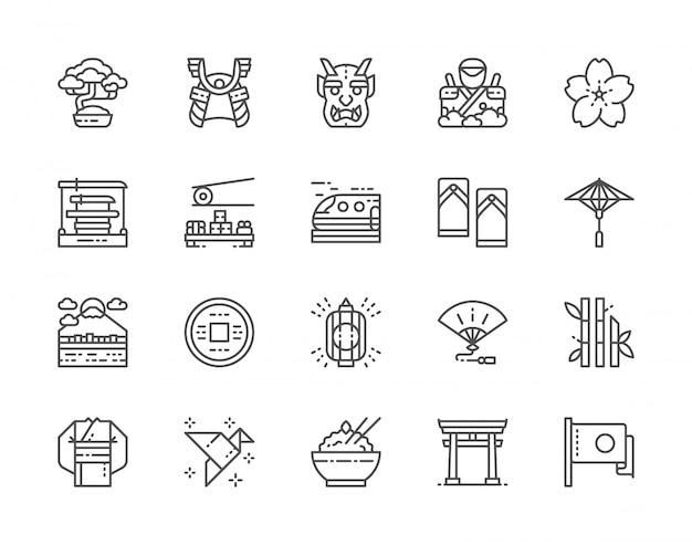 Set di icone di linea di cultura giapponese. bonsai, katana, sushi, kimono e altro ancora. Vettore Premium