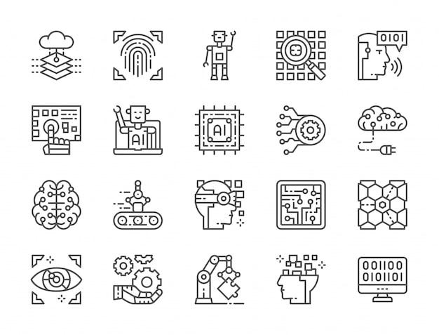 Set di icone di linea di intelligenza artificiale Vettore Premium